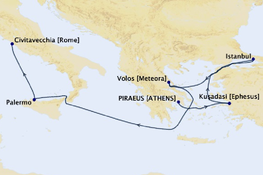 Map for 7 Night Greek Isles Cruise