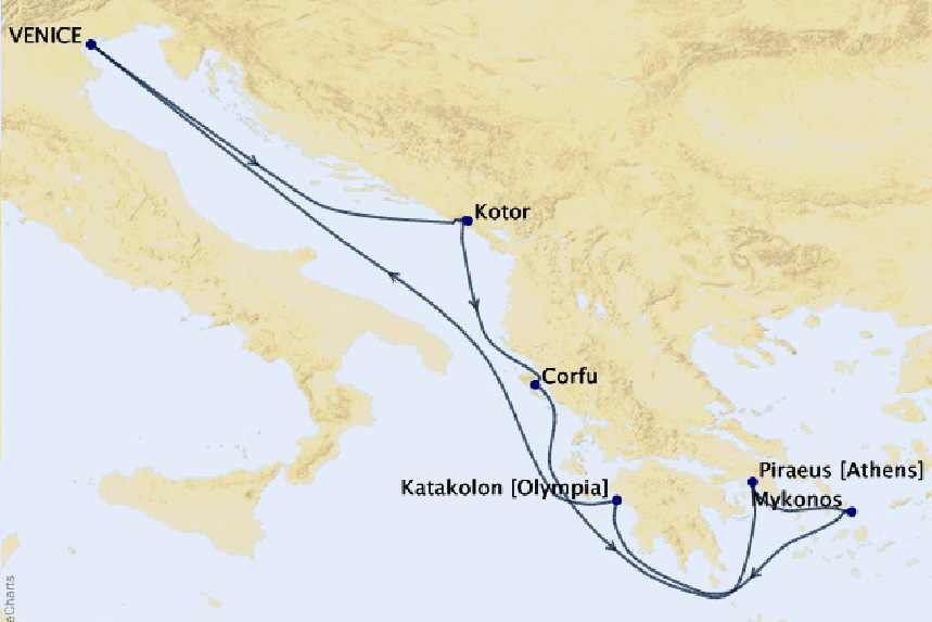 Map for 7 Night Adriatic Sea